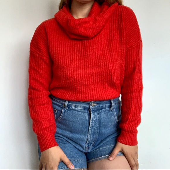 Bright red  cowl neck sweater
